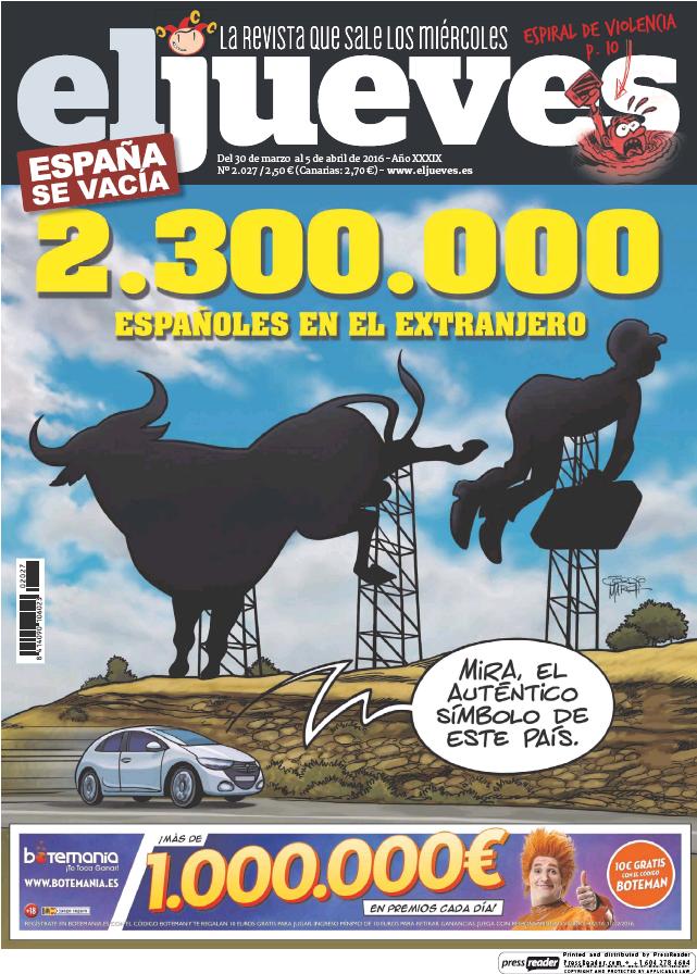 EL JUEVES portada 30 de Marzo 2016