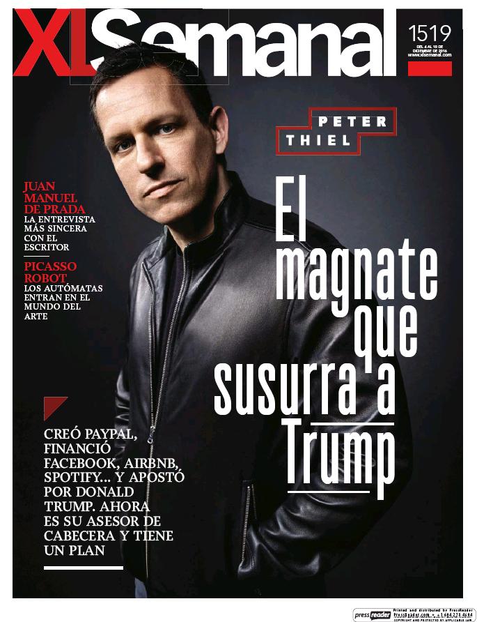 XL SEMANAL portada 4 de Diciembre 2016
